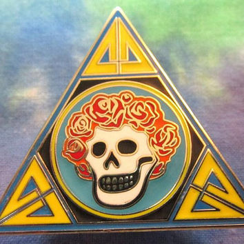 BERTHA PYRAMID PIN / Lsd Psychedelic Grateful Dead Family Relic - Jerry Garcia / Screwback w/10 mm post for Hat bills, Guitar straps