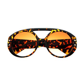 Celebrity Fashion Large Round Sunglasses Shades Tortoise R1830