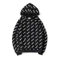 Supreme street fashion men and women couples hoodie hooded sweater F-A-KSFZ black