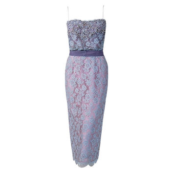 1950's Ceil Chapman Periwinkle Beaded Rhinestone Lace Cocktail Wiggle Dress