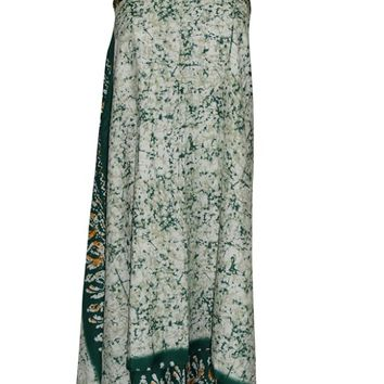 Boho Style Wrap Skirt Green Vintage Premium Silk Sari Reversible Summer Dress ...