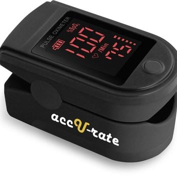 CMS 500DL Generation 2 Fingertip Pulse Oximeter Oximetry Blood Oxygen Saturation Monitor with silicon cover, batteries and lanyard (Jet Black)