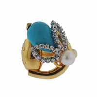 Gucci Gold Turquoise Diamond Pearl Ring