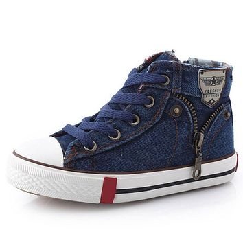 Size25~37 Children Shoes Kids Canvas Sneakers for Boys Girls denim jeans Girl Boots Flats High-top Shoes with Zipper CSH245