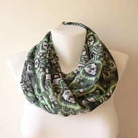 Boho Infinity Scarf, Green Tribal Print Scarf, Floral Scarf, Chiffon Loop Scarf, Women Circle Scarf, Fashion Accessories, Gift For Her