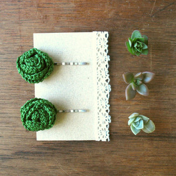 Two Chartreuse Green Flower Bobby Pins, Hair accessories, Green hair clips, crochet flower pins. Set of Two  flower clips made by VeraJayne