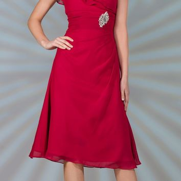 CLEARANCE - Red Tea Length Chiffon Dress Short Sleeves Semi Formal (Size Large)