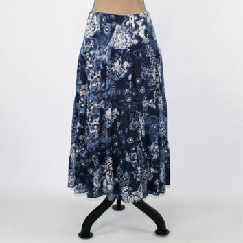 Boho Skirt Hippie Skirt Batik Skirt Full Skirt Women Cotton Skirt Blue and White Boho Clothing Hippie Clothes Medium Large Womens Clothing