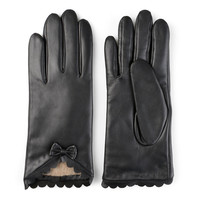 Women's Journee Collection Leather Wool Lined Gloves