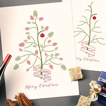 2015 Printable Kids Christmas Fingerprint Tree Craft