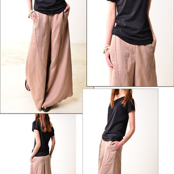Moon forgot - wide leg pants / linen skirt pants / khaki slimming pants (K1206b)