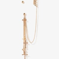 Cross Charm Chain Earrings