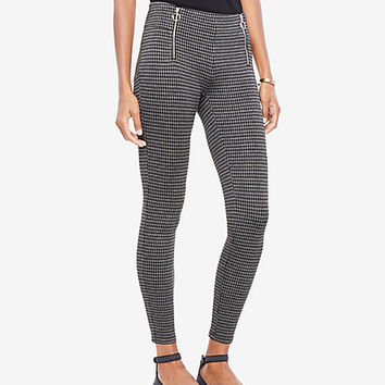 Houndstooth Front Zip Leggings | Ann Taylor