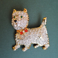 Vintage Rhinestone Dog Brooch, Scotty or Terrier, Novelty Costume Jewelry