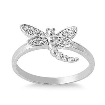 925 Sterling Silver CZ Dragonfly Ring 10MM