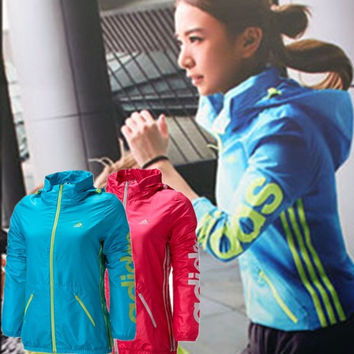 Adidas Woman Fashion Solid Long Sleeve Casual Cardigan Jacket Coat Windbreaker
