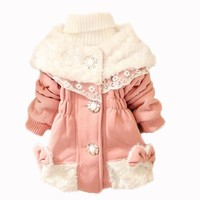 Girls Kid Baby Toddler Fur Collars Fleece Hoodie Coat Jacket Snowsuit Outwear