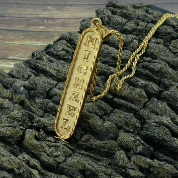 Egyptian Cartouche Necklace, Yellow Gold Plated, Silver, Personalized Name in English & Hieroglyphic Letters, Flat Round, CR005B