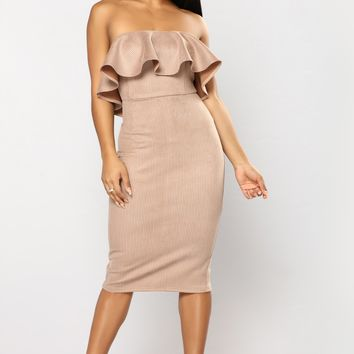 Money And Power Houndstooth Dress - Taupe