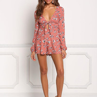Rust Floral Plunge Tie Front Romper