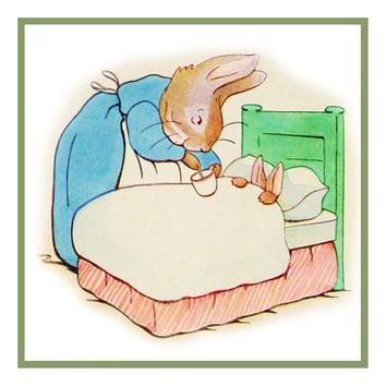 Mother Rabbit Puts Peter to Bed inspired by Beatrix Potter Counted Cross Stitch Pattern