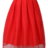 Red Organza Overlay Midi Skirt