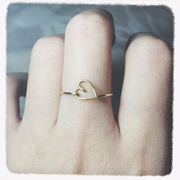 Christmas Sale!Coupon Code 20OFF! Gift Heart Ring/gold ring/gold heart ring/brass heart ring/wire heart jewelry/heart midi ring/knuckle ring