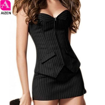 AIZEN Bustier Corset Skirt Dress Sexy Black Pinstripe Corselet Overbust Office Lady Lace Up Costume Plus Sizs zip Corsets mini