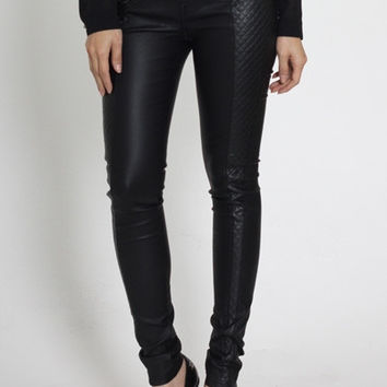 QUILTED VEGAN LEATHER PANTS