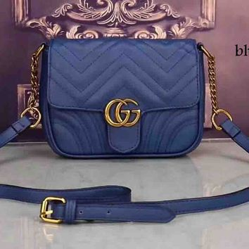GUCCI trend feminine chic elegant leather handbag F-LLBPFSH blue