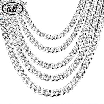 """WK 100% 925 Sterling Silver Mens Silver Chain Necklace Men Hip Hop Rapper Curb Cuban Link Chain Male 4MM 5MM 6MM 20 22 26"""" NM005"""