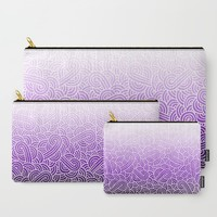 Ombre purple and white swirls zentangle Carry-All Pouch by Savousepate
