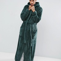 ASOS Hooded Floor Length Robe In Fleece at asos.com
