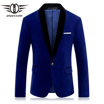 Red Blue Velour Blazer Men Slim Fit Men Velvet Blazers Casual Suit Jacket Stylish Prom Stage Clothing