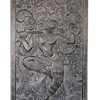 "Krishna with Govardhan ""Parvet"" Mountain Wall Sculpture , Panel, Barn Door, India Art Yoga Decor"
