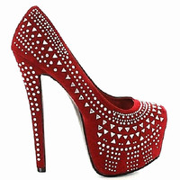 Queena Red Beaded Rhinestones Pump High Heel Shoes