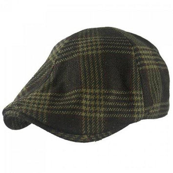 Stylish Plaid Stripe Pattern Felt Flat Cap For Men