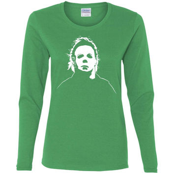 Jacted Up Tees Michael Myers Halloween Movie Mask Men's T-Shirt SHIPS FROM OHIO USA-01  G540L Gildan Ladies' Cotton LS T-Shirt