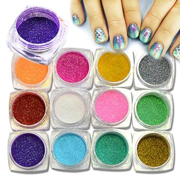 SWEET TREND 12Bottle Mermaid Effect Nail Glitter Glimmer Powder Dust Tips For Nail Art Decoration DIY Manicure Tools LAM01-M12