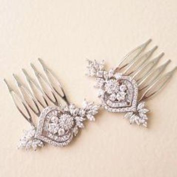 Bridal Hair Pins with flower leaf cubic zirconia small brooch in Silver or Rose Gold