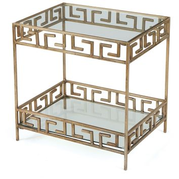 Parker Greek Key Glass End Table
