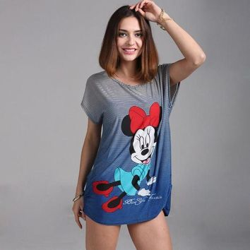 DCCKU62 2017 summer Plus size Minnies T Shirt  Big Size Women Mouses Printing T shirt Long Style Loose Casual Tees Sweet Minnie Tops