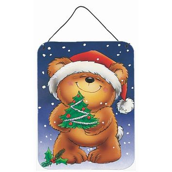 Teddy Bear and Christmas Tree Wall or Door Hanging Prints AAH7208DS1216