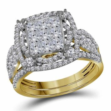 14kt Yellow Gold Women's Princess Diamond Bridal Wedding Engagement Ring Band Set 2.00 Cttw - FREE Shipping (US/CAN)
