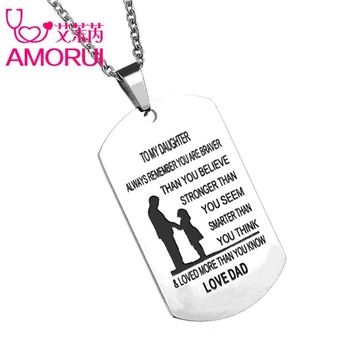 AMORUI To my Son/Daughter Pendant Long Chain Necklaces Love Mom/Dad ID Bar Tag Customized Name Necklace Men/Women Gift Jewelry