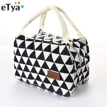 eTya Insulation lunch bag for Women Men Kids Adults Fashion printing Portable Thermal Food Picnic Cooler Bag Tote Large capacity