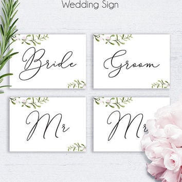 Weddings Bride and Groom Sign, Printable Wedding, Watercolor Wedding, Wedding Signage, Printable Wedding, Wedding Accessory, Wedding Signs