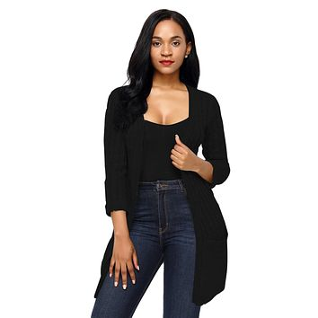 Black 3/4 Sleeve Open Front Casual Knit Sweater