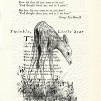 Bambi and Thumper Poem Page Art Print Book Page Art Vintage Page Art Upccycled Bambi Print cp174