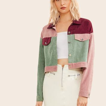 Button Front Cut And Sew Cord Jacket